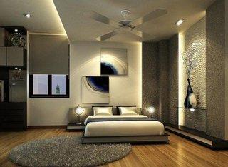 Dormitor amenajat cu crem si gri