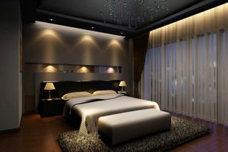 Dormitor in culori inchise si sistem inteligent de iluminare
