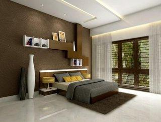 Dormitor maro cu alb