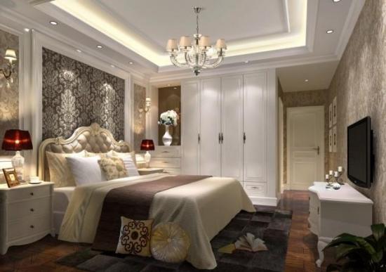 Pat alb cu tablie tapitata si mobilier in stil francez