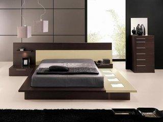 Pat dormitor cu platforma de lemn si spoturi LED