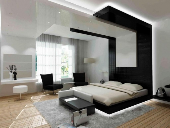 Pat dormitor negru iluminare led