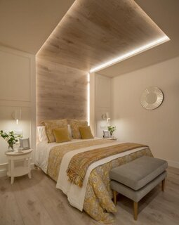 dormitor modern cu iluminare cu led