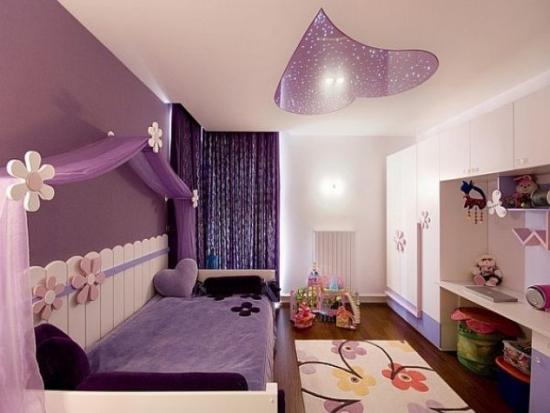 Camera pentru fete mov cu crem
