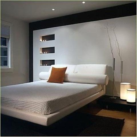 Dormitor in combinatia alb cu negru si pat in stil asiatic