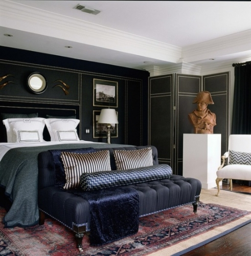 Dormitor masculin cu perete placat cu piele neagra