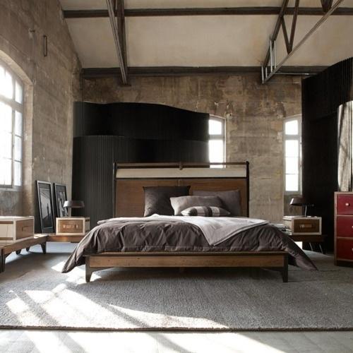 Stilul industrial aplicat in amenajarea unui dormitor pentru barbati