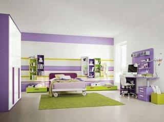 Camera pentru copii cu mobila alb mat lila si verde