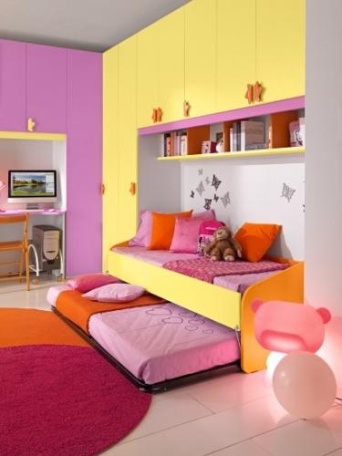 Camera pentru fetite galben pepene portocaliu si roz