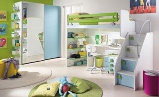 Dormitor pentru copii cu bleu deschis si verde