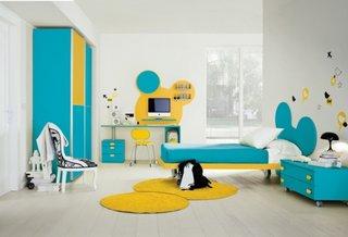 Dormtior superb pentru copii galben aprins si bleu ciel