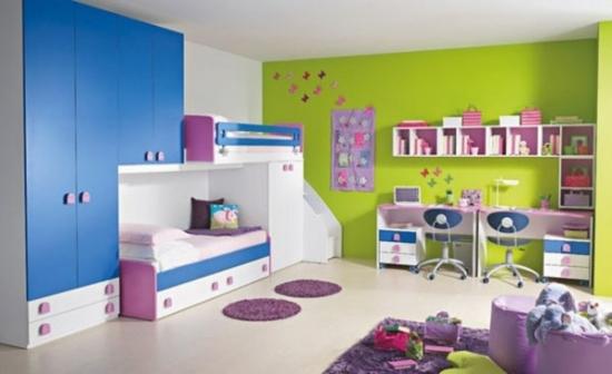 Mobila de dormitor pentru copii cu albastru si verde