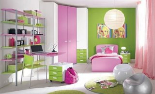 Mobila de dormitor pentru fetite cu alb roz si verde