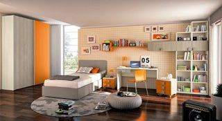 Mobila pentru camera adolescenti portocalie cu gri