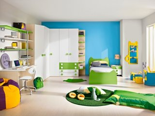 Mobila pentru copii alb mat si verde fistic