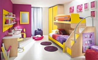 Mobila pentru copii cu galben si mov