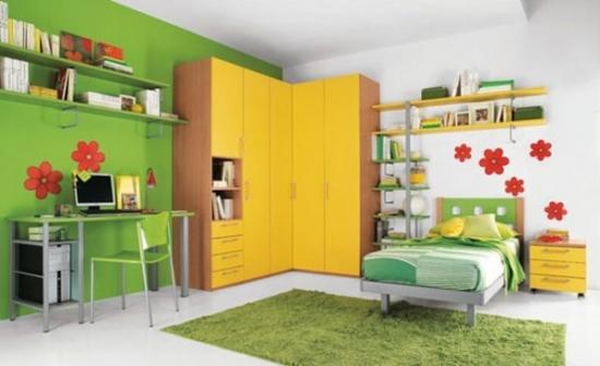Mobila pentru dormitor de copii colorata cu galben si verde