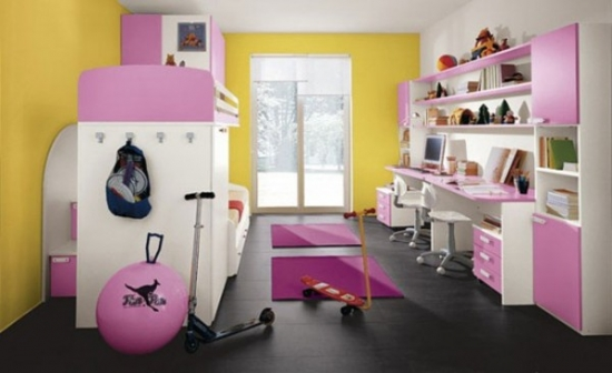Mobila pentru dormitor de copii roz cu galben