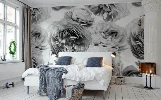 Dormitor cu tapet decorativ alb cu negru