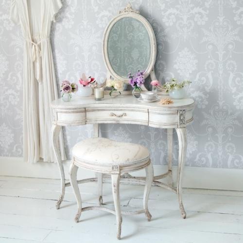 Masa de toaleta alba cu oglinda si scaun