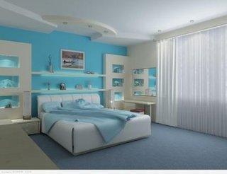 dormitor cu pat din piele si perete de accent turcoaz