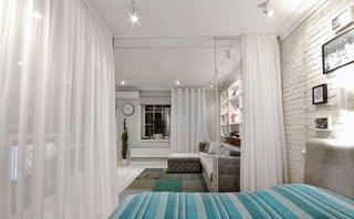 Cum se vede livingul din dormitor doua camere intr-una singura
