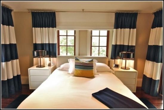 Draperie dormitor cu dungi late crem si gri albastrui