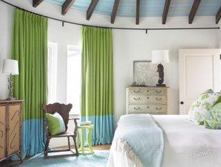 Draperii verzi cu albastru dormitor