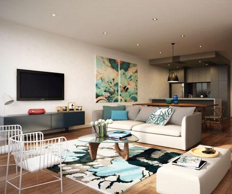 Idee de amenajare a unui living open space cu bucatarie