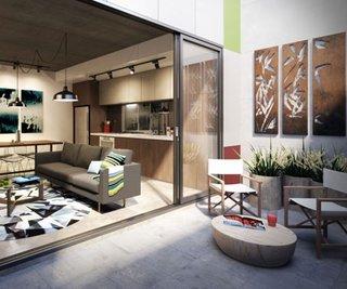 Living open space cu iesire pe terasa