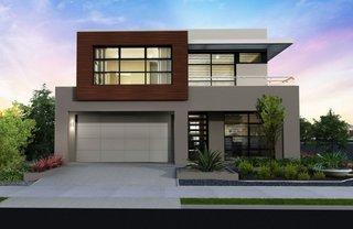 Casa cu doua nivele cu fatada moderna si garaj