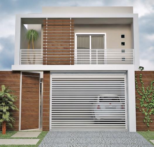 Casa cu doua nivele cu fatada moderna