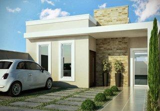 Casa mica cu fatada exterioara moderna perete de caramida