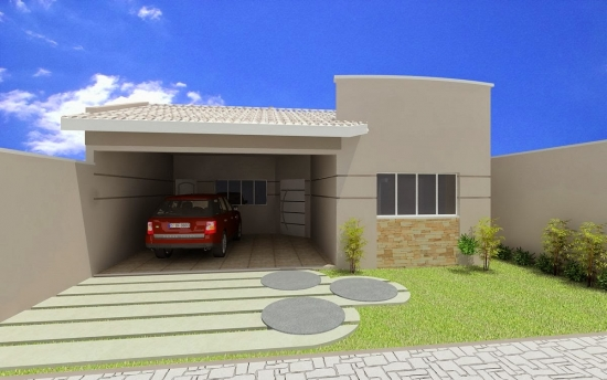 Casa mica cu garaj si fatada exterioara moderna