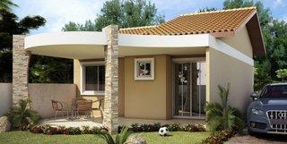 Casa mica moderna cu fatada exteriora frumoasa si terasa acoperita