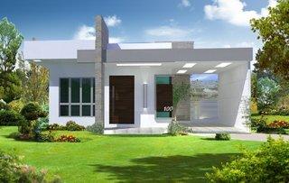 Casa mica si moderna cu fatada exterioara alba geamuri mari
