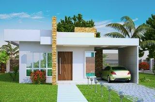 Casa micuta si moderna cu fatada exteriora alba garaj gradina verde