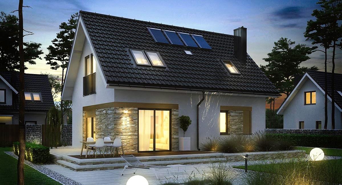 1  Casa cu mansarda cu acoperis negru