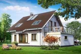 Casa cu acoperis maro si terasa deasupra garajului