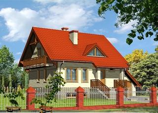 Casa cu acoperis rosu si balcon din lemn