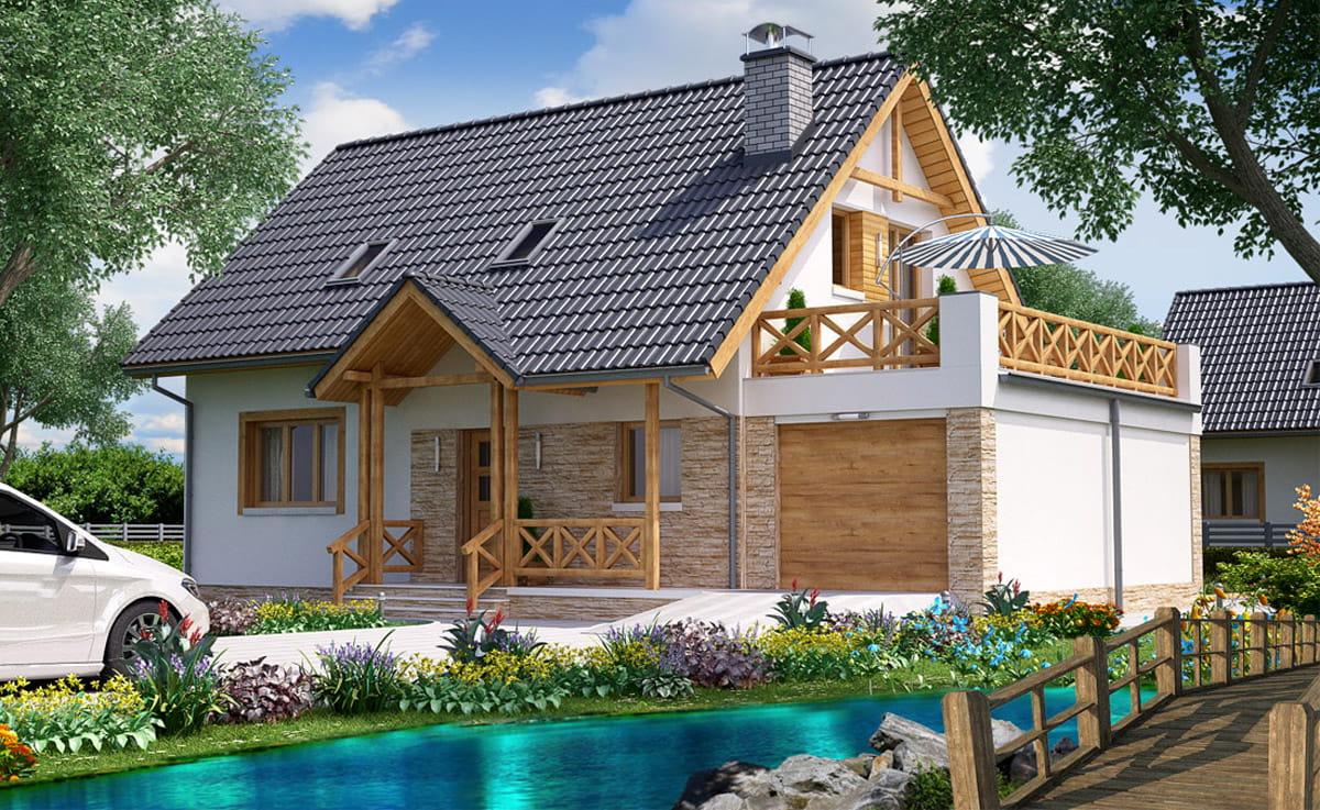 Casa cu balcon din lemn si piatra crem