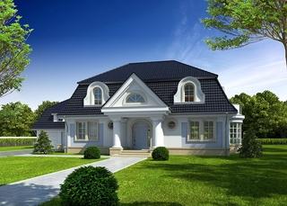 Casa cu fatada alba si acoperis gri inchis