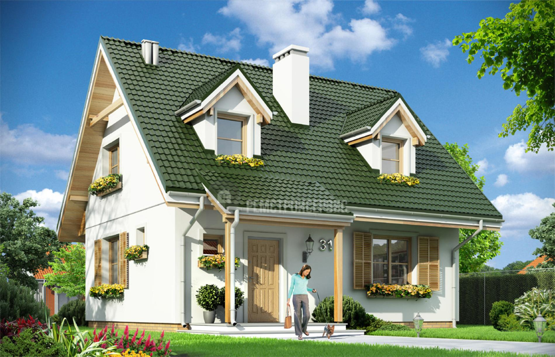 Casa cu fatada alba si acoperis verde