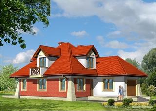 Casa cu fatada rosie
