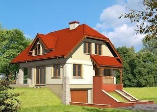 Casa cu mansarda cu acoperis rosu si placaj din caramida