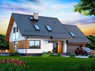 Casa cu mansarda cu fatada alba cu lemn