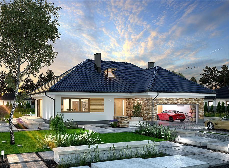 Casa cu parter cu fata moderna alba placata cu piatra decorativa