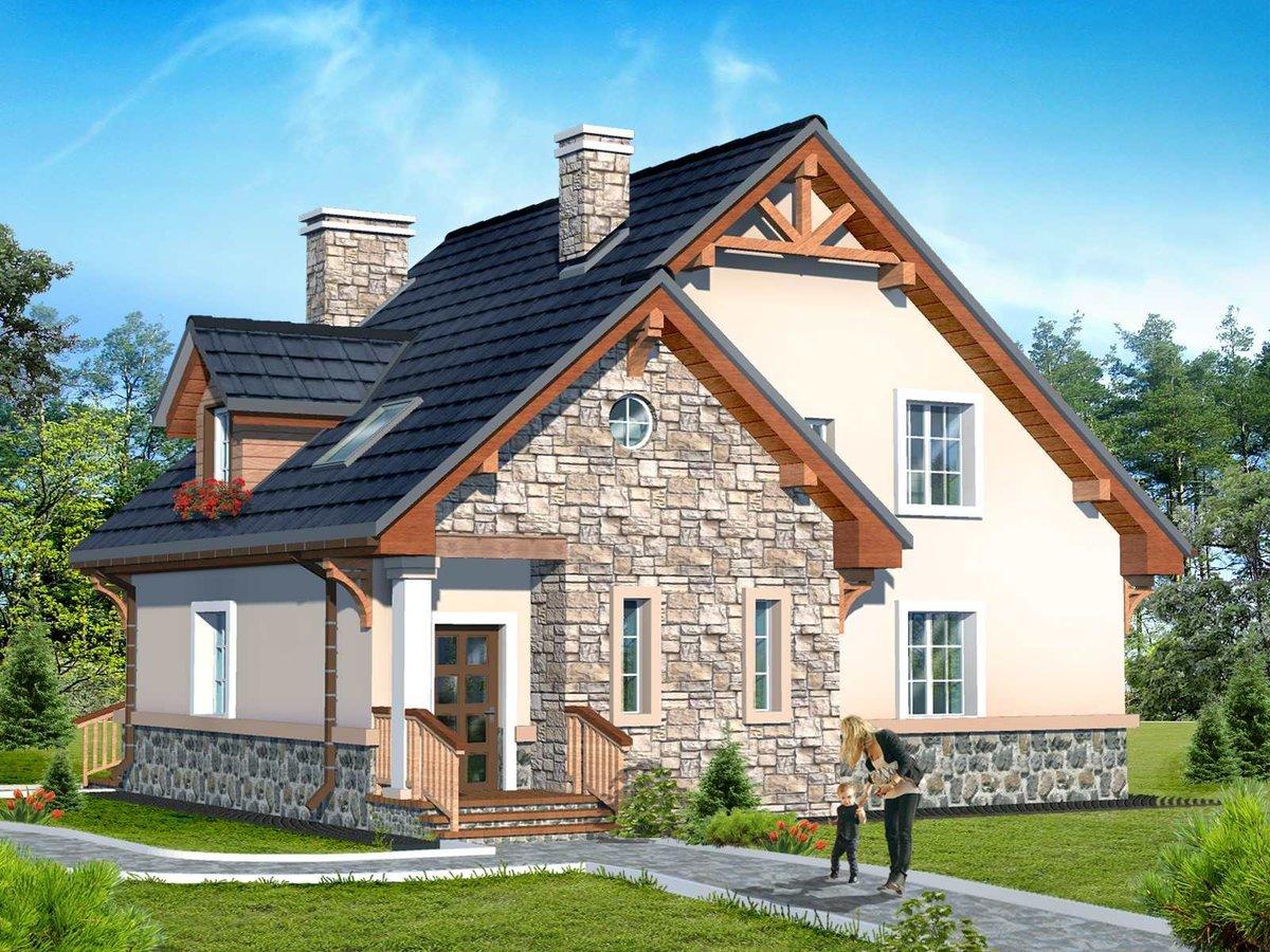 Casa cu perete fatada placat in intregime cu piatra