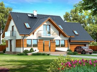 Casa superba cu fatada alba si elemente din lemn