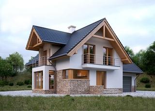 Casa superba cu fatada alba si soclu placat cu piatra